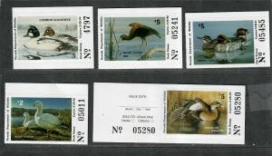 Nevada Sc#11-15 M/NH/VF, State Duck Stamps, Cv. $54