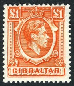 GIBRALTAR-1938-51 £1 Orange.  A lightly mounted mint example Sg 131