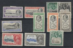 Ascension KGV 1922/1935 Collection Of 11 Mint Values MH J5929