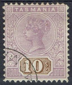 TASMANIA 1906 QV TABLET 10/- WMK CROWN/A INVERTED PERF 12.5 USED