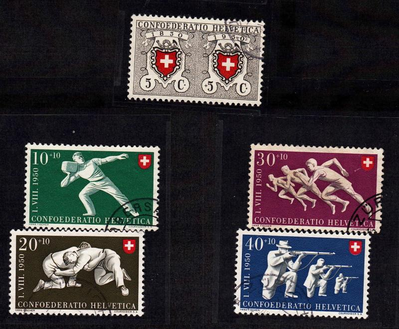Switzerland #191-195, used, CV $ 30.00