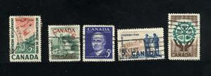 Canada  391-95 Complete set used PD 1961