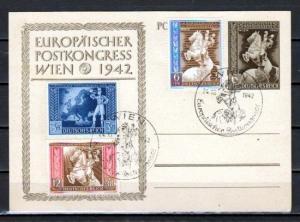 Germany, Scott cat. B209-B211. Postal Congress issue on Postal Card.