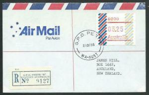 AUSTRALIA 1985 $3.25 Frama on registered airmail cover to New Zealand......60349