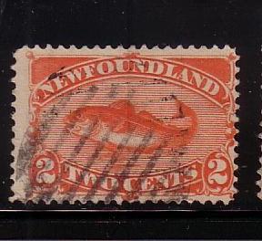 Newfoundland Sc48 1880 2 c red orange codfish stamp used