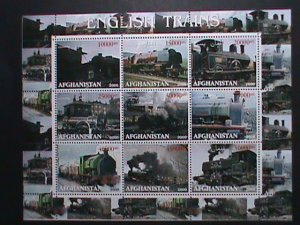 AFGHANISTAN-STAMP-2000 CLASSIC TRAINS  - MNH STAMP SHEET RARE