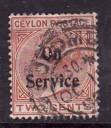 Ceylon-Sc#O9- id7-used 2c Official Queen Victoria-1900-