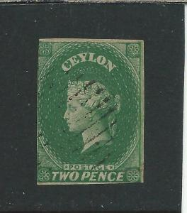 CEYLON 1857-59 2d GREEN FU SG 3 CAT £65