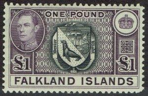 FALKLAND ISLANDS 1938 KGVI ARMS 1 POUND