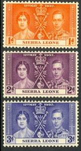 SIERRA LEONE 1937 KGVI CORONATION Set Sc 170-172 MNH