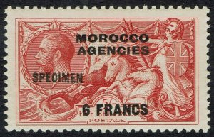 MOROCCO AGENCIES FRENCH CURRENCY 1924 KGV SEAHORSES 6FR ON 5/- SPECIMEN