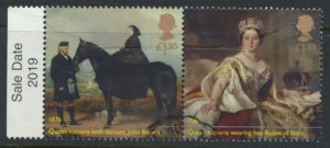 GB Used 2019 Queen Victoria Anniversary £1.35 se-tenant pair see scan for de...