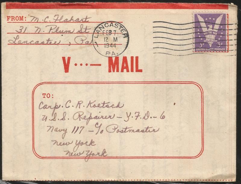 United States, Pennsylvania, V-Mail