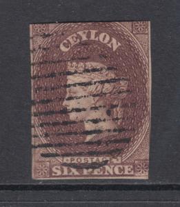 Ceylon Sc 6A used 1859 6p purple brown QV, 2 margins, sound