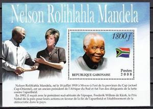 Gabon, 2008 Cinderella issue. Nelson Mandela s/sheet.
