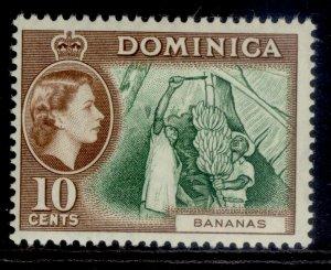 DOMINICA QEII SG150, 10c green & brown, NH MINT. Cat £20.