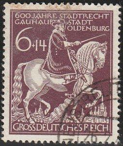 Stamp Germany Mi 907 Sc B290 1945 WWII Fascism Oldenburg Gunther Horse Used
