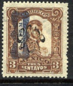 MEXICO 542, 3¢ Corbata & Carranza Rev overprints UNUSED, H OG. VF.