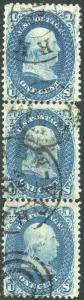 #63b VERTICAL STRIP OF 3 USED DARK BLUE CV $1200.00++ BP2200