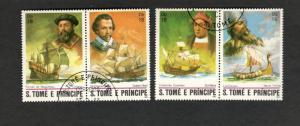1982 S. Tome E Principe SC #672a-d GOLDEN HIND CARACA STA. MARIA NAVIO VIKING