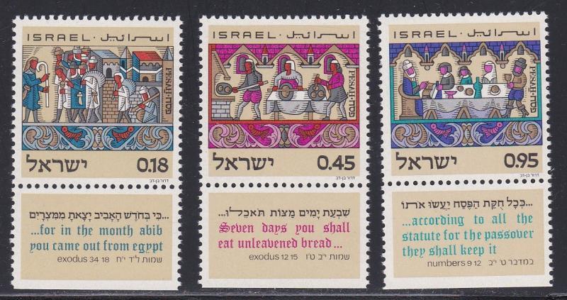 Israel # 484-486, Exodus - Passover, NH Tab Set, 1/2 Cat.