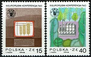 Poland Scott 2862-63 (SW 3159-60) MNH (1988) European FAO Conference