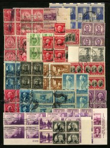 #319G-#892 1903-1040 Assorted Used Blocks of 4-8