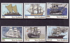 New Zealand-Sc#980-5-unused NH set-Heritage-Ships-1990-id3-