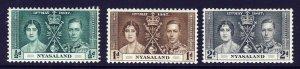 NYASALAND King George VI 1937 The Coronation Set SG 127 to SG 129 MINT