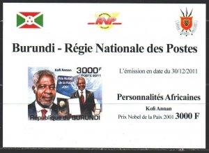 Burundi. 2011. black impression. Annan, Nobel Peace Laureate. MNH.