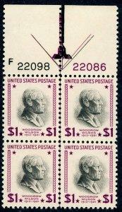 #832 – 1938 $1 Wilson.  Arrow Plate Block. MNH OG.