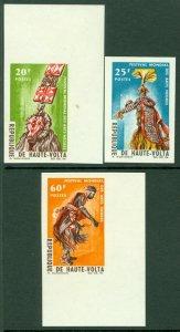 EDW1949SELL : BURKINA FASO 1966 Scott #162-64 Costumes. Cplt set Imperf. VF, MNH