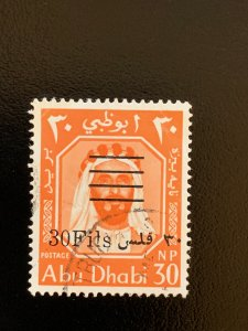 Abu Dhabi 1966 30f on 30np new value, scarce used. Scott 18. Michel 18A