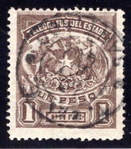 H4, Type I, Chile, 1p, 1883, , Telegraph, Telegrafos , perf, Used