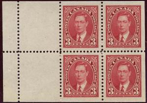 Canada - 1937 3c Booklet Pane of 4 mint #233a