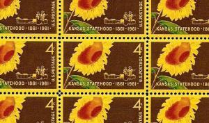 1961 - KANSAS STATEHOOD - #1183 Full Mint -MNH- Sheet of 50 Postage Stamps