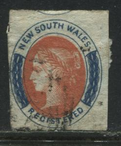 New South Wales QV 1856 6d Registration stamp used