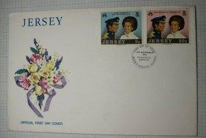 Jersey Royal Wedding 1973 FDC Cachet Info Card Sg 97-98 Sc# 89-90