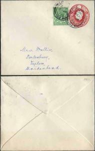EP57 KGV 1d Scarlet Envelope Size H Used Uprated London Cancel