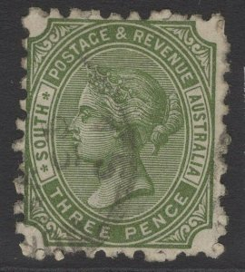 SOUTH AUSTRALIA SG183a 1890 3d OLIVE-GREEN p10 USED