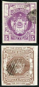 North Borneo SG49a and SG50a 5 and 10 dollar IMPERF CTO (Pairs Cat 160 pounds)