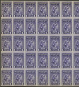 PUERTO RICO #RE51 FULL SHEET/50 $1 RECITIFIED SPIRIT STAMPS CV $4,125 WLM561