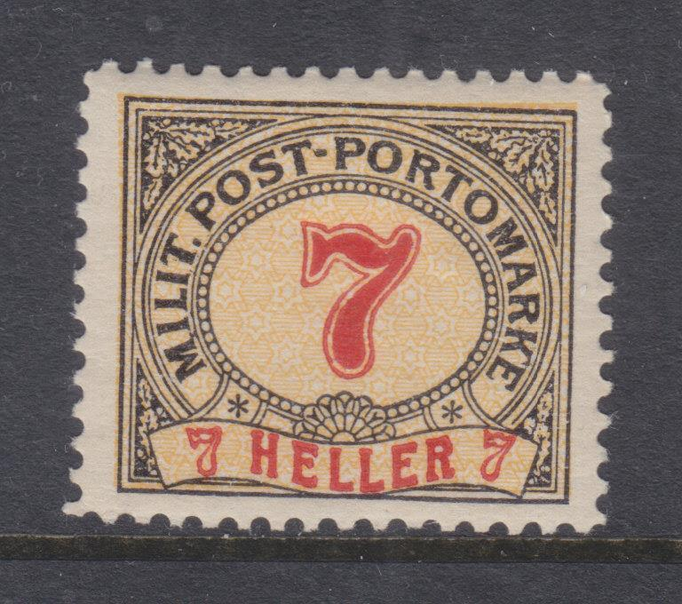 BOSNIA & HERZEGOVINA, Postage Due, 1904 7h., perf., 12 1/2, lhm.