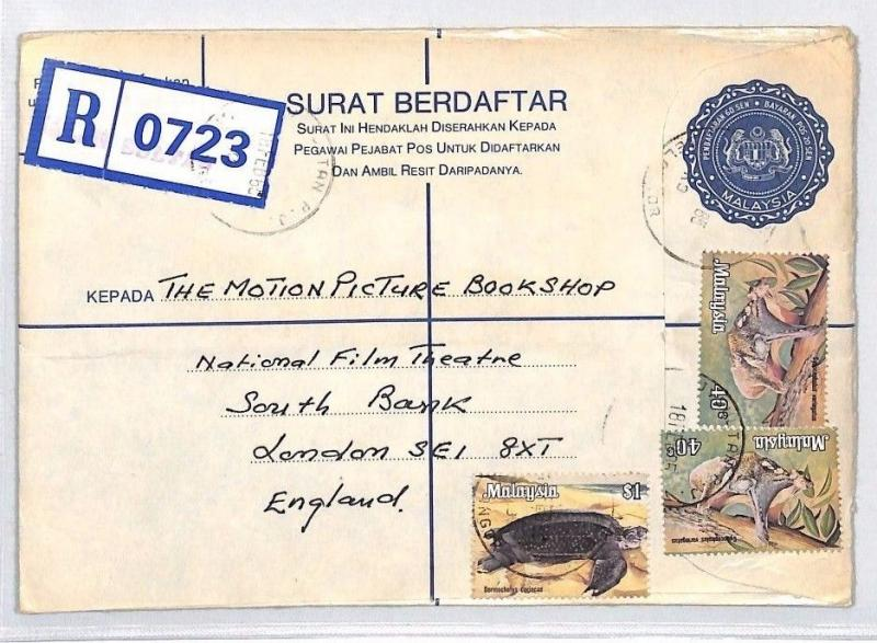 AN358 1985 MALAYSIA *Petaling Jaya* REGISTERED STATIONERY Airmail Cover Devon