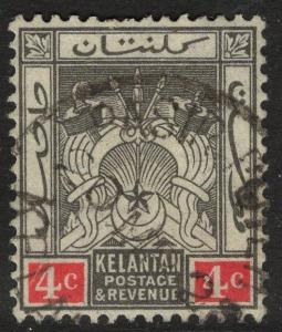 MALAYA KELANTAN SG17 1922 4c BLACK & RED USED