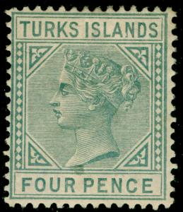 TURKS AND CAICOS ISLANDS SG57, 4d grey, M MINT. Cat £40.