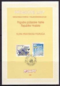 Croatia, Scott cat. 130-131. Flowers issue. Postal Bulletin. First day. ^