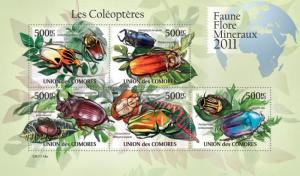 COMORES 2011 SHEET BEETLES LES COLEOPTERES SCARABEE LADY BUGS INSECTS cm11114a