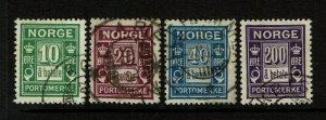 Norway SC# J8-J10, J12, Used, Hinge Remnant - S9416