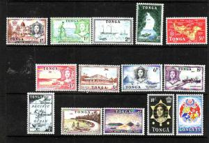 Tonga-Sc#100-13-unused NH definitive set-1953-